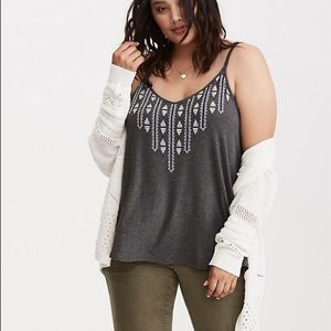 Torrid Gray Embroidered Strappy Cami Tank